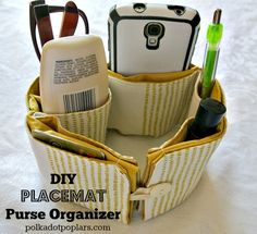 DIY Placemat Purse Organizer by www.polkadotpoplar.com on www.cookingwithruthie.com