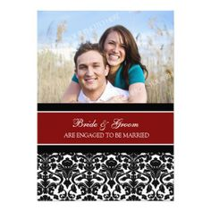Red Damask Photo Engagement Party Invitations