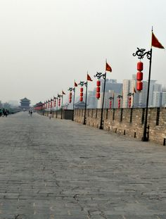 Biked on the seemingly endless Xi'an City #Wall --Xian, #China 2013