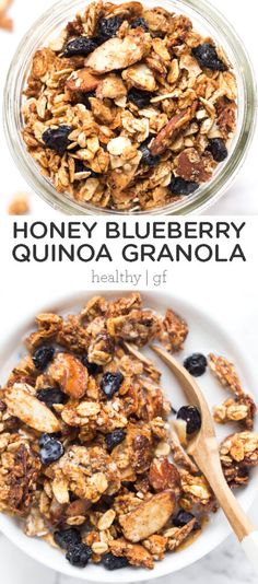 This is the BEST granola recipe ever! Honey Blueberry Quinoa Granola will be your new homemade go-to breakfast! Healthy, gluten-free, flavorful and fiber-rich. So easy to make and made with rolled oats, vanilla, quinoa flakes, almond butter, coconut, and more!