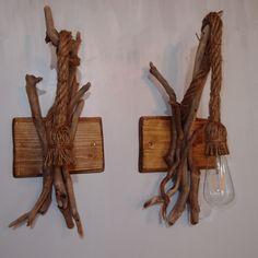 ζευγάρι απλίκες από θαλασσοξυλα & σχοινί manila.. 50χ22cm .