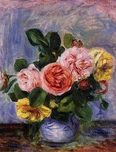 Roses in a Vase by Pierre Auguste Renoir ✏✏✏✏✏✏✏✏✏✏✏✏✏✏✏✏  ARTS ET PEINTURES - ARTS AND PAINTINGS  ☞ https://fr.pinterest.com/JeanfbJf/pin-peintres-painters-index/ ══════════════════════  BIJOUX  ☞ https://www.facebook.com/media/set/?set=a.1351591571533839&type=1&l=bb0129771f ✏✏✏✏✏✏✏✏✏✏✏✏✏✏✏✏