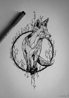 fox geometrical tattoo