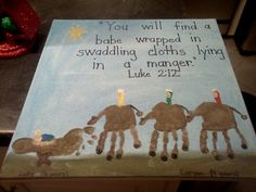 Christmas handprint art! Making this for mom for Christmas!!!! Camels!!!