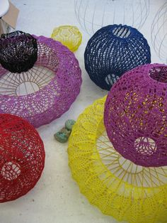 Moonbasket crochet lampshades