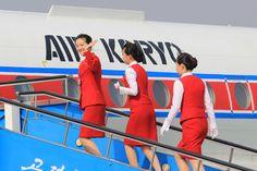 Air Koryo stewardesses - all 3 of them!