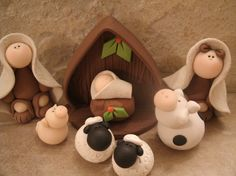 A sweet nativity set consisting of Mary, Joseph, baby Jesus, 2 sheep, a pig, a cow and the stable.    This is an original design that has