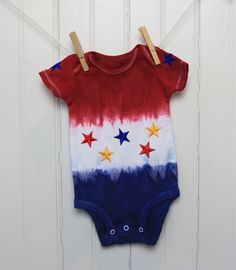 Colorperfect Tie Dyed July 4th Onesie | Rit Fabric Dye Clothing Dyeing