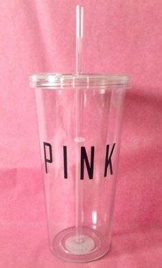 Pink by Victoria's Secret Water Bottle Tumbler Black Letters GENUINE New #VictoriasSecret #pink #waterbottle #tumbler