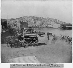 '''Telegraph hill from Vallejo Street, Wharf--San Francisco''' by LaConnieArt Places In California, California History, Old West Town, Barbary Coast, San Francisco Earthquake, Oregon Trail, Yosemite Valley, San Francisco Bay, Modern City