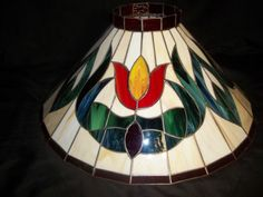 Vtg-Stained-Glass-Wrought-Iron-Chandelier-Tulips-Floral-Slag-Light-Fixture