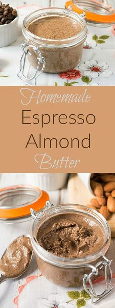 Healthy, raw homemade almond butter with espresso. Small batch because a little goes a long way.