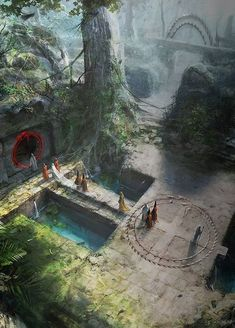 New fantasy landscape peace ideas Fantasy City, Fantasy Kunst, Fantasy Places, High Fantasy, Medieval Fantasy, Fantasy World, Fantasy Art Landscapes, Fantasy Landscape, Landscape Art