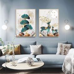 US $3.88 |Nordic Abstract Landscape Poster Gold Elk Deer Leaf Canvas Painting  Print Wall Art Pictures for Living Room Home Decor No Frame|Painting & Calligraphy|   - AliExpress