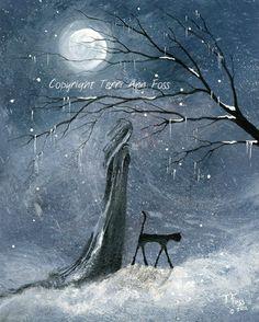 Orig Painting WITCH WOMAN CAT WINTER CHRISTMAS HALLOWEEN GOTHIC FOLK ART T FOSS | eBay
