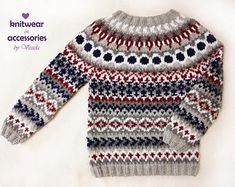 Icelandic Sweater Kids Adults Nordicstyle Knit Pullover Jacquard Fairisle Handmade Made To Order