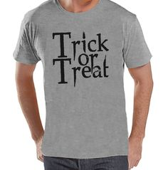 Mens Trick or Treat Shirt - Adult Halloween Costumes - Men's Shirt - Mens Costume Tshirt - Mens Grey T-shirt - Black Happy Halloween T-shirt