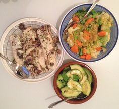 Dinner: Sautéed fish with capers and mushrooms. Stir fry veggies and sliced avocado. Shares meal.