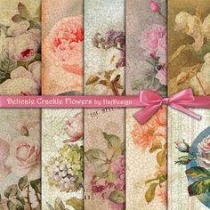 DELICATE CRACKLE Flowers - Digital Paper, Decoupage Paper, Scrapbook Paper, Digital Collage Sheet, Vintage Illustration