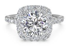 round solitaire with square diamond halo~