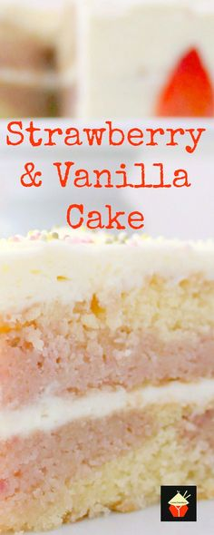 Strawberry and Vanilla Cake. A soft and moist cake bursting with delicious strawberry and vanilla flavors. It tastes out of this world!   Lovefoodies.com
