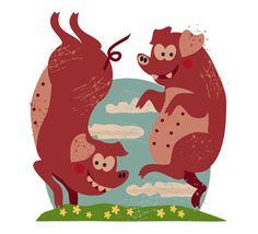 Martin Lowe Illustration Posing Pigs Cartoon Characters