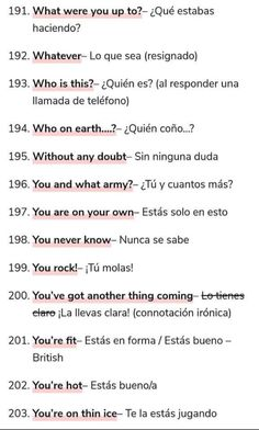 Useful Spanish Phrases, English Phrases, Learn English Words, English Study, English Lessons, Teach Yourself Spanish, How To Speak Spanish, Spanish Teaching Resources, Spanish Language Learning