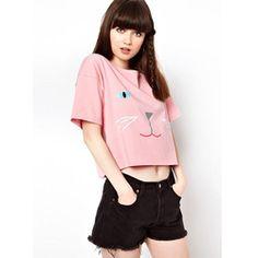 Cat Print Crop Top T-Shirt