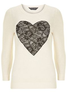 Your winter wardrobe isn't complete without stylish knitwear! Shop knitted winter tops, dresses, cardigans & jumpers from Dorothy Perkins and get free delivery on orders over Heart Sweater, Heart Shirt, Lace Sweater, White Jumper, Lace Heart, Ivoire, Look Chic, Lace Tops, White Lace