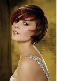 Brunette Hairstyles with Red Highlights.