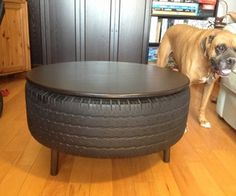 Recycled Tire Coffee Table/ just make sure the dog does not want to pee on the tire