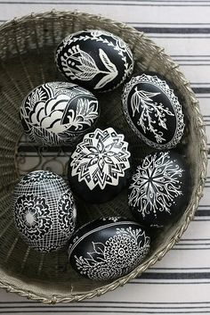 Easter eggs ... black and white ... intriquite designs....