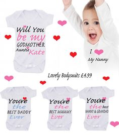 Bodysuit  EXCLUSIVE  RANGE any name can be used  godmother message me which slogan on Etsy, £4.99