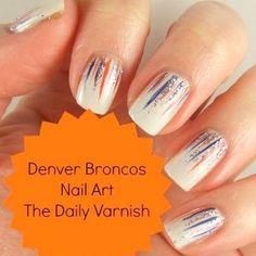 Denver Broncos Nail Art