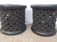 40D x 40H Bamileke stools hand carved from Cameroon