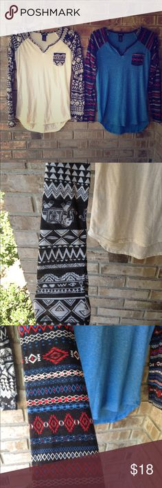 Rue 21 Aztec shirt bundle 2 adorable shirts from rue 21!! They are the same size and same material. The white and black one has Aztec and elephants on the sleeves! So cute! The blue and black one has multiply color's of Aztec shapes. Love both these but probably needed a large to fit me the way I like. Both in perfect condition! Rue 21 Tops Tees - Long Sleeve