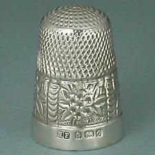 Antique Blackberry Band English Sterling Silver Thimble * Hallmarked 1903