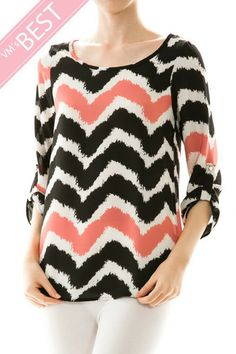 Keyhole Back Chevron Print Woven Top in Coral - Andreas Boutique