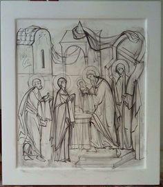 Сретение Drawing Artist, Art Icon, Orthodox Icons, Christian Art, Religious Art, Byzantine, Figure Drawing, Sketches, Graphic Design