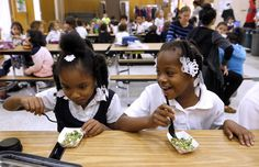 "[...] kindergartner Jera Flenaugh was game to taste the chopped parsley, tomato and bulgur dish during lunch at Glenview Elementary in Oakland last week.  ""It tastes like not-hot salsa,"" said Jera, her smile missing a front tooth as she put a sticker under the ""Loved it"" column on a poster set up in the cafeteria to tally student votes.  Part of the impetus for Oakland's farm-to-school program is funding from the U.S. Department of Agriculture under the Obama administration, so it's unclear…"