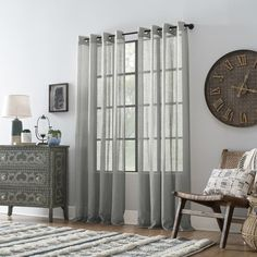 Shop for Archaeo Slub Textured Linen Blend Grommet Top Curtain. Get free delivery On EVERYTHING* Overstock - Your Online Home Decor Outlet Store! Cool Curtains, Grey Curtains, Beautiful Curtains, Hanging Curtains, Window Curtains, Curtain Headings, Curtain Styles, Rich Home, Home Decor Outlet