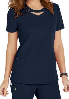 Careisma By Sofia Vergara Fearless Keyhole Scrub Tops Main Image Scrubs Outfit, Scrubs Uniform, Stylish Scrubs, Cute Scrubs, Medical Uniforms, Nursing Uniforms, Womens Scrubs, Uniform Design, Medical Scrubs