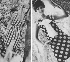1960s stripe and polka dot dresses by Sportsgirl and David Jones
