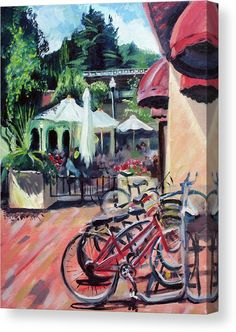 Trademark Fine Art 24 in. x 32 in. Bikers in Town Canvas Art, Multi Artist Canvas, Canvas Art, Bicycle Painting, Red Art, Stretched Canvas Prints, Canvas Material, Fine Art America, Artwork, Stretcher Bars