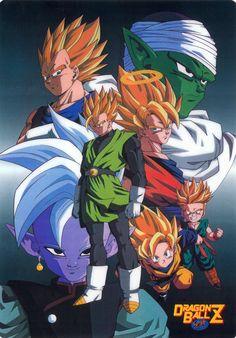 Vegeta, Goku, Gohan, Trunks, Goten, Piccolo, and Supreme Kai Shin