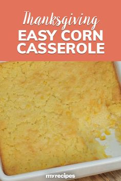 Making the most of convenience products, this corn casserole comes together quickly as an ideal side dish for chili, spicy pork, or chicken.#myrecipes #comfortfood #comfortfoodrecipes #casserole #hotdish #casserolerecipes #hotdishrecipes