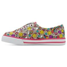 Toddler Girls' Peony Emoji Laceless Canvas Sneakers Cat & Jack - Multi-Colored 12, Multicolored