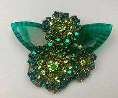 Stunning Signed Miriam Haskell Brooch Pin Glass Leaves Green Rhinestones | Jewelry & Watches, Vintage & Antique Jewelry, Costume | eBay!