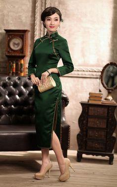 Green Cheongsam Style Tailor Made Chinese Dress