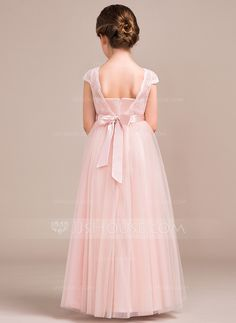 A-Line/Princess Scoop Neck Floor-Length Bow(s) Zipper Up Sleeves Short Sleeves No Pearl Pink General Tulle Lace Junior Bridesmaid Dress